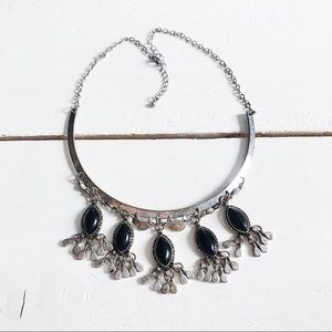 Free People Cai Collar Choker Necklace Silver Onyx